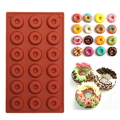 CS 18 Cavity Diy Donut Shape Round Muffin Sweet Candy Jelly Fondant Cake Chocolate Mold Silicone Tool Baking Pan (Hotel Chocolate)