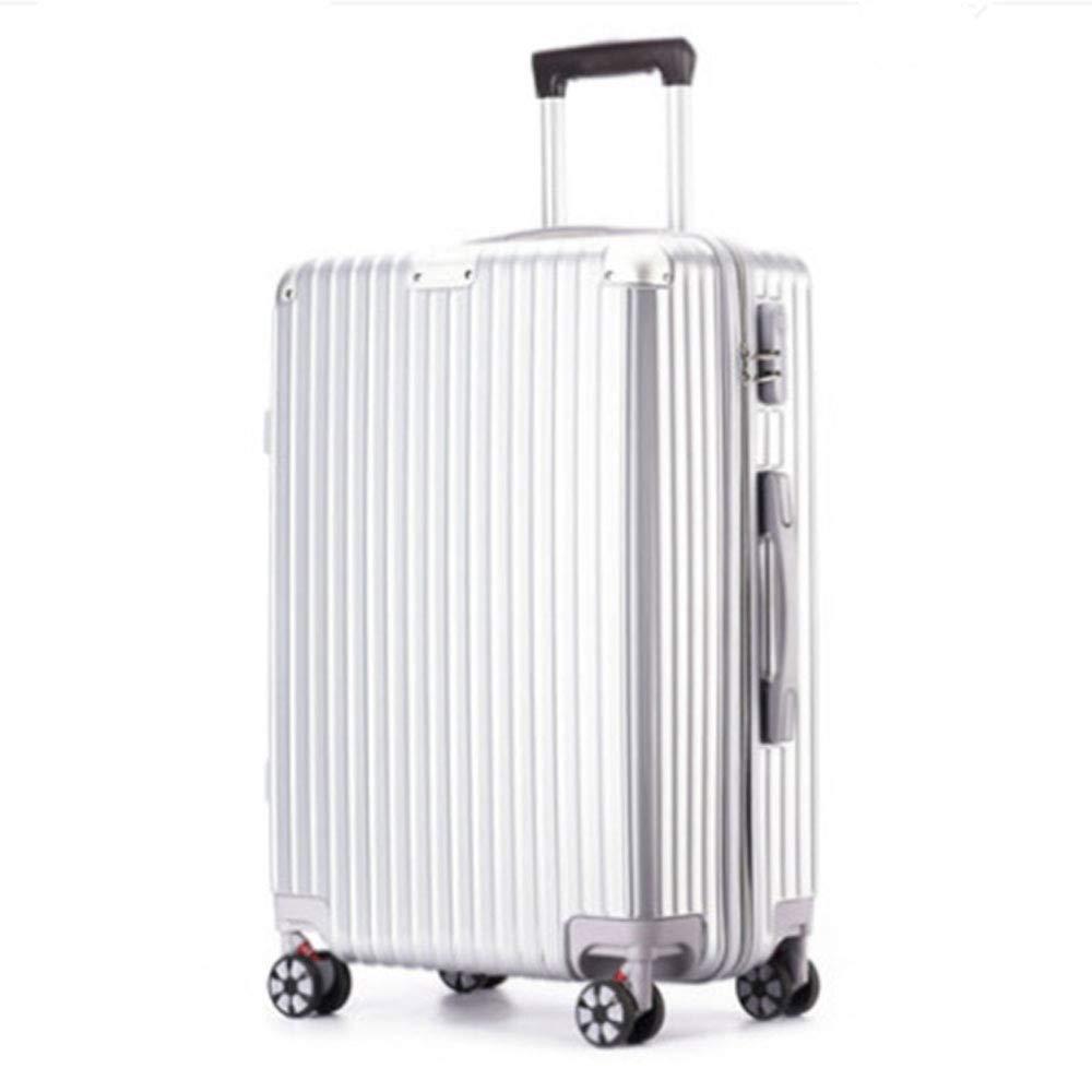 レトロジッパーボックス腹筋+ pcトロリーケースユニバーサルホイール荷物20インチ24インチスーツケース (Color : シルバー しるば゜, Size : 24 inches)   B07QYMGXYH