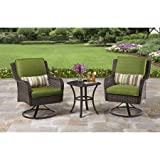 Attractive Amelia Cove 3-piece Outdoor Bistro Set, with Glass-top Side Table and Two - Best Reviews Guide