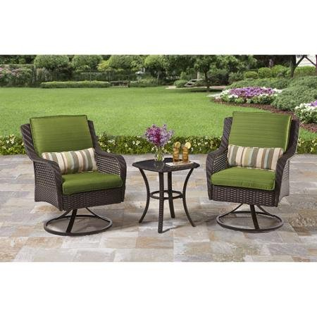 Attractive Amelia Cove 3-piece Outdoor Bistro Set, with Glass-top Side Table and Two Swivel Bistro Chairs, Right At Home on Your Porch,deck or Patio, Seats 2