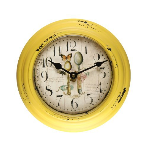 Adeco CK0059 Yellow Iron Old World-Inspired Circular Wall Hanging Clock with Spoons Design Kitchen, Yellow