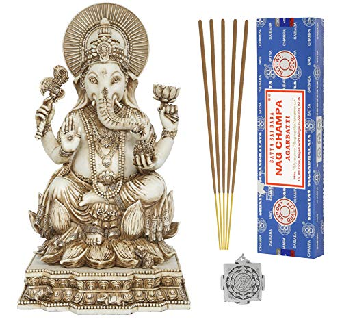 Ganesh Statue - Hindu Altar Supply Kit - 8 inch (H) Antique Ivory Ganpati Lord of Success ~ 100 Gram Satya Sai Baba Nag Champa Incense Sticks Pack and Lotus - Statue Ivory
