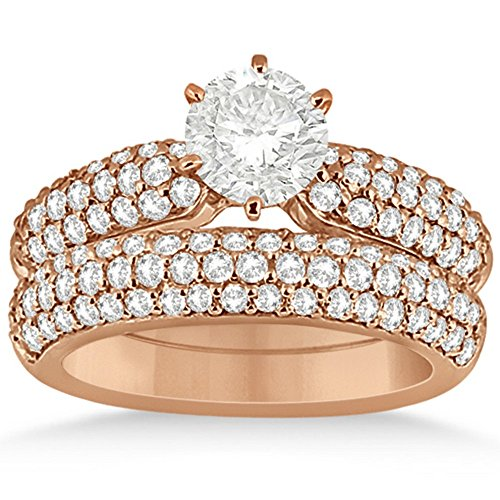 Three Row Half-Eternity Prong Setting Round-Cut Diamond Bridal Set in 14k Rose Gold (1.59ct)