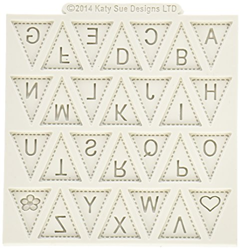 Alphabet Border Design - Katy Sue Designs Bunting Alphabet Design Mat for Cake Decorating, Cupcakes, Sugarcraft and Candies