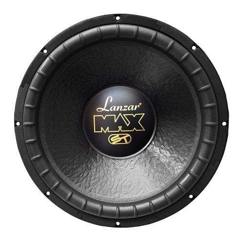 Lanzar 15in Car Subwoofer Speaker - Black Non-Pressed Paper Cone, Stamped Steel Basket, Dual 4 Ohm Impedance, 1200 Watt Power and Rubber Suspension for Vehicle Audio Stereo Sound System - MAX15D (15 Slim Subwoofer)