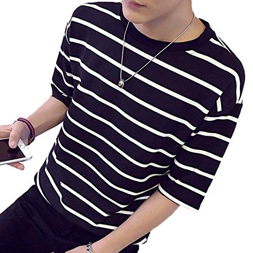 [XINXIKEJI]夏服 メンズ ロックtシャツ ビジネス tシャツ ストライプ ポロシャツ トップス インナー ボーイズ 男の子 Tシャツ 半袖 大きいサイズ 修身 カジュアル シャツ ゴルフウェア 上着 通勤 通学 運動 日常用 M-XXXXL