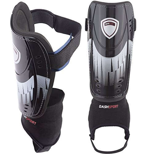 DashSport Soccer Shin Guards -Youth Sizes - by Best Kids Soccer Equipment with Ankle Sleeves - Great for Boys and Girls EXTRA - Shin Soccer Guard
