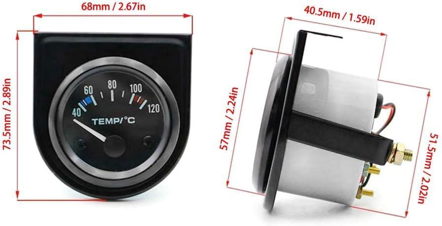 Salamoph Manom/ètre universel 52 mm pour temp/érature de leau 40-120 /°C /Écran LED num/érique pour voiture cadran noir, lunette noir