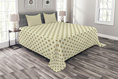 (Ambesonne Retro Bedspread, Fleur-de-lis Flower of The Lily Design Traditional Repetitive Pattern, Decorative Quilted 3 Piece Coverlet Set with 2 Pillow Shams, Queen Size, Yellow Cream)