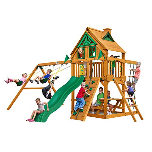 - Gorilla Playsets Modern Chateau Treehouse Swing Set with Amber Posts