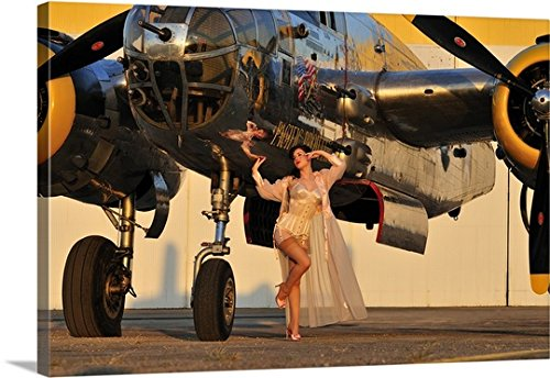 Christian Kieffer Gallery-Wrapped Canvas entitled 1940's pin-up girl in lingerie posing with a B-25 bomber by greatBIGcanvas