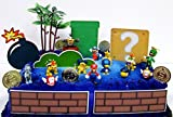MARIO Brothers Birthday CAKE Topper Set Featuring Mario Figures,Themed Decorative Accessories, Figures Average .5' to 1.5 Inches Tall