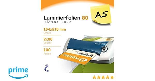 Bolsas para plastificar Printation, 100 piezas, DIN A5, 216 x 154 mm, 2 de 80 micras, brillantes, prémium