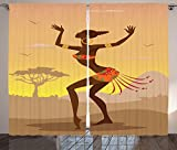 Afro Decor Curtains Ethnic Lady in Ritual Dance Person in Psychedelic Style Figures Artisan Image Living Room Bedroom Window Drapes 2 Panel Set Brown Cocoa