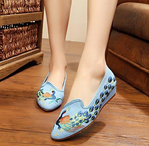 esfine bordado Zapatos tendón de, único, estilo étnico, zapatos de mujer, Fashion, cómodo, exquisito Lienzo Zapatos amarillo