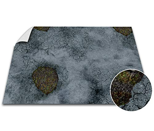 Battle Game Mat - 48x72 - Dungeons & Dragons Tabletop Role Playing Map - Wargaming DND - RPG Dust Warfare & Flames of War - Miniature Figure Board Games - 40k Warhammer Gaming Vinyl (Road Decay) ()