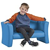 ECR4Kids SoftZone Gum Drop Upholstered Sofa for Kids - Daycare, Homeschool, Classroom Furniture, Home Decor - French Blue