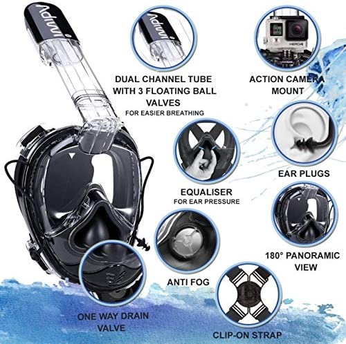 adiwi Full Face Snorkeling Mask Snorkel Diving Mask 180° View Ear Pressure