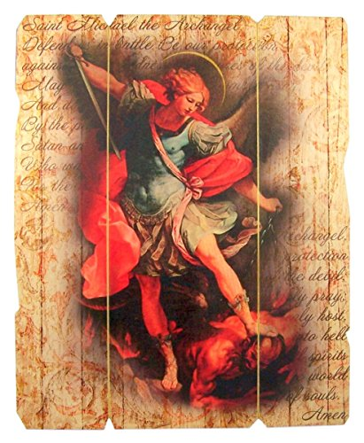 Laser Cut Wood Saint Michael the Archangel Icon Wall Plaque, 9 1/4 Inch (Icons Saint)