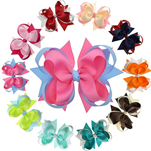 Girls Boutique Hair Bows with Ribbon Mixes and Stacks -10Pcs Pack & 4.5 -