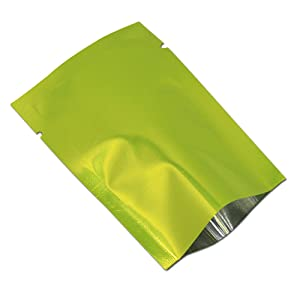 100 Pack Mylar Foil Heat Sealable Bag Aluminum Foil Pouch Bulk Food Storage Central Vacuum Bag (Green, 2.4x3.5 inches (1.97x3.35 inches Inner Size))