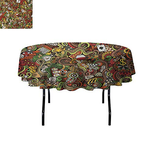 Casino Easy Care Leakproof and Durable Tablecloth Doodles Style Artwork of Bingo and Cards Excitement Checkers King Tambourine Vegas Outdoor Picnic D40 Inch Multicolor ()