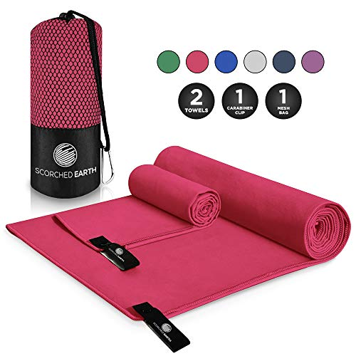 ScorchedEarth Microfiber Travel & Sports Towel Set (Rose Pink) - Large Set (30x60