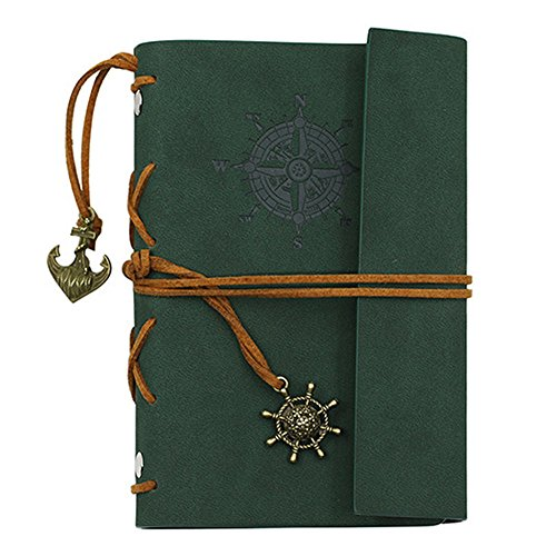 ZAONE Retro Anchor Faux Leather Cover Journal Vintage Handmade Refillable Traveler's Notebook Daily Notepad Blank String, Great gift for Men Women Students (Green)