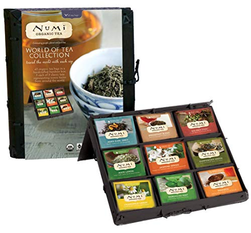 Numi Organic Tea World of Tea Variety Gift Set, 45 Black, Green, Mate & Herbal Tea Bags in Bamboo Chest (Packaging May Vary) (Christmas Sets Tea Uk)