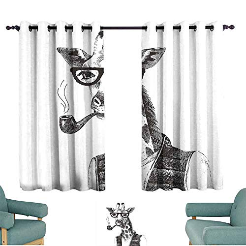SONGDAYONE Quirky Decor Blackout Curtain Giraffe Smoking Pipe Dressed Up Fancy Zoo Animal Hipster Style Drawing Retro Cafe Curtain Black White (2 Panels,W63 xL72) (Eminem Smoking With The Best)