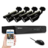 SANSCO Home Security Camera System with 4-Channel 1080N Smart DVR and 4 Bullet Cameras (Super HD 720p 1MP) Smart Surveillance Cameras Kit, No HDD Included For Sale