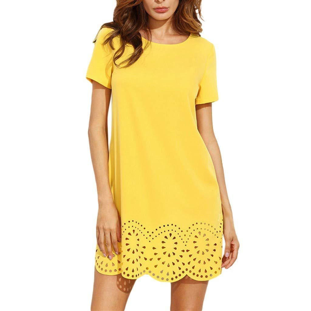 Riverdalin Womens Short Sleeve Mini Dress Ladies Fashion O-Neck Hollow Casual Loose Simple T-Shirt Dress for Summer Yellow