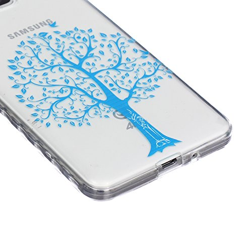 CaseHome Samsung Galaxy Grand Prime G530 Silicone Gel Funda Silicona Carcasa(Con HD Pantalla Protectora),[Nudo Chino Negro]Impresión Estilo Transparente Cristal Claro Ligera Ultra Delgado Dure Antides Mariposa azul