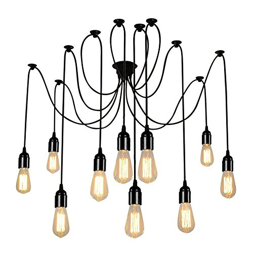 Chandelier Light Kit - Lightess Spider Pendant Lighting 10-Heads Edison Chandelier Vintage Multiple Adjustable DIY Ceiling Light Kit, CY-B10