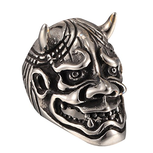 Heavy Death Mens Chariot Skull Head Devil Horns Stainless Steel Ring All (Deaths Head Ring)