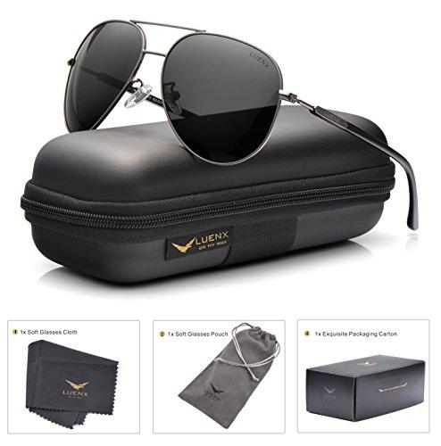 LUENX Aviator Sunglasses Womens Mens Polarized Mirror with Case - UV 400 Protection 60MM