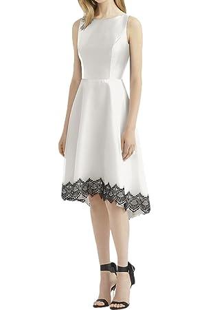 MILANO BRIDE Gorgeous Evening Dress Wedding Party Dress Asymmetrical Backless Satin-20W-White