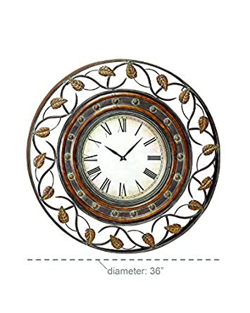 Deco 79 57720 Metal Wall Clock To Track The Time, 36 , Tarnished Bronze Finish