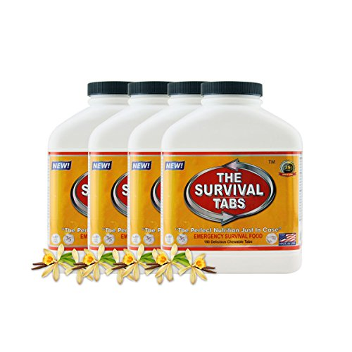 Survival Tabs 60 Day 720 Tabs Emergency Food Survival Food Meal Replacement MREs Gluten Free and Non-GMO 25 Years Shelf Life Long Term Food Storage – Vanilla Flavor
