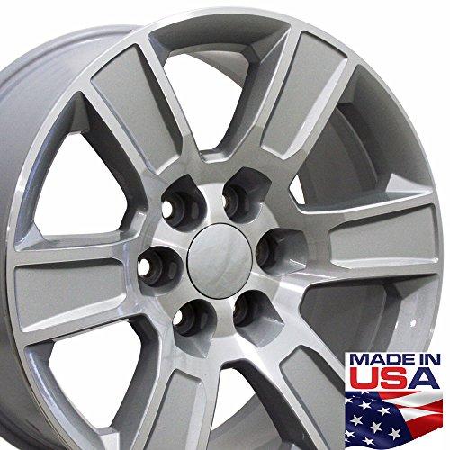 20×9 Wheel Fits GMC Truck – Sierra Style Silver Rim w/Mach'd Face, Hollander 5650