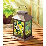 Gifts & Decor Stained Glass Light Solar Powered Floral Garden Lantern