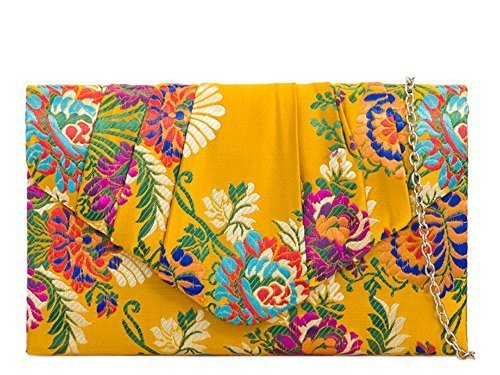 Clutch Bag Bridal Evening Floral Women's Yellow Envelope Embroidery Satin Purse XwZxYq0