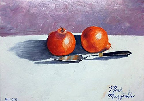 Wall Art Print entitled Honeybell Oranges And Palette Knife by Mazz Original Paintings | 10 x 7