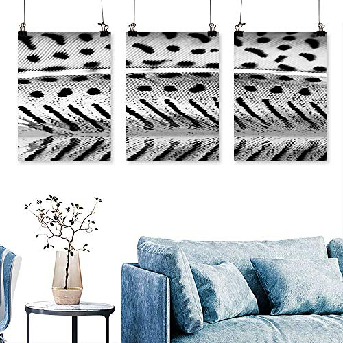 SCOCICI1588 Three Consecutive Painting Frameless Guinea Hen Feather with Light Grey Background Artwork for Wall Decor Triptych 24 INCH X 47 INCH X 3PCS