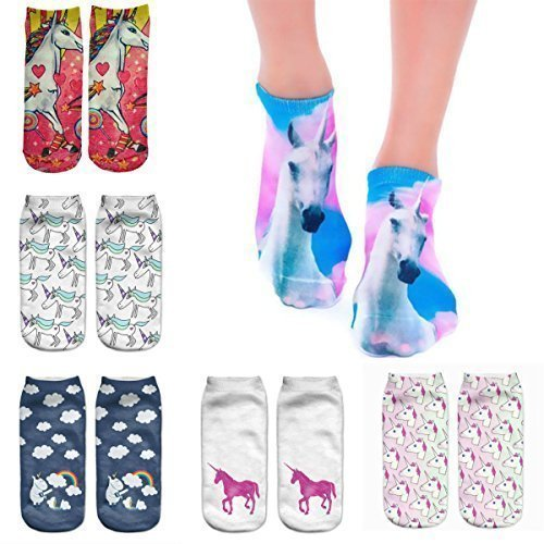 6 Socks Pack Unicorn 3D Print Socks Woman Men Kids Unisex Low Cut Ankle Jogging Running Fitness Sport Yoga Summer Funky Gym Animal Unicorn 3D Fashion Cotton Socks