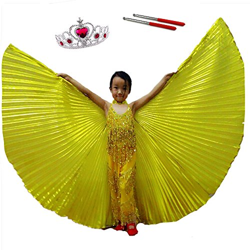 Belly Dance ISIS Wings For Kids Child Girl, White Dance Costumes Birthday Party, Cosplay With Sticks Frozen Crown Carnival Halloween Cloak(Gold S) (Birthday Girl Halloween Costume)