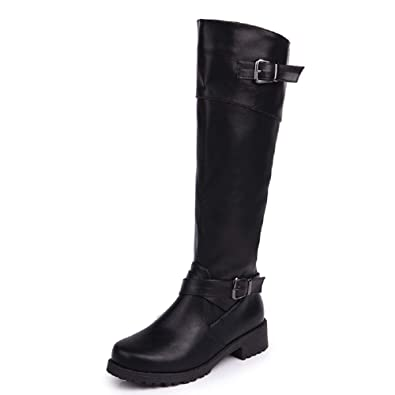 71a297dca14 Womens Knee High Boots Leather Flat Long Boots Ladies Low Heel Zip Buckle  Winter Shoes Fashion Dress Party