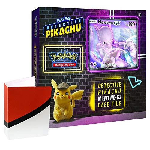 Pokemon TCG: Detective Pikachu Mewtwo-Gx Case File + 6 Booster Pack + A Foil Promo Gx Card + A Oversize Gx Foil Card + 1 Pokeball Themed Mini -