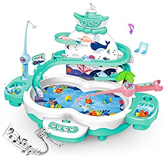 MagneticFishing Games toys for kids - 3 IN 1 Premium Version Electric Fishing Toys for toddlers with Songs Story & Animal Sounds - Toddler preschool Learning Toys for 3 4 5 Year Old Girls Boys