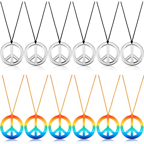 meekoo 12 Pieces Peace Sign Necklace Peace Symbol Pendant Necklace 60s 70s Party Hippie Pendant Accessories for Party Daily Costume Accessory (Silver Color and Rainbow Color) ()
